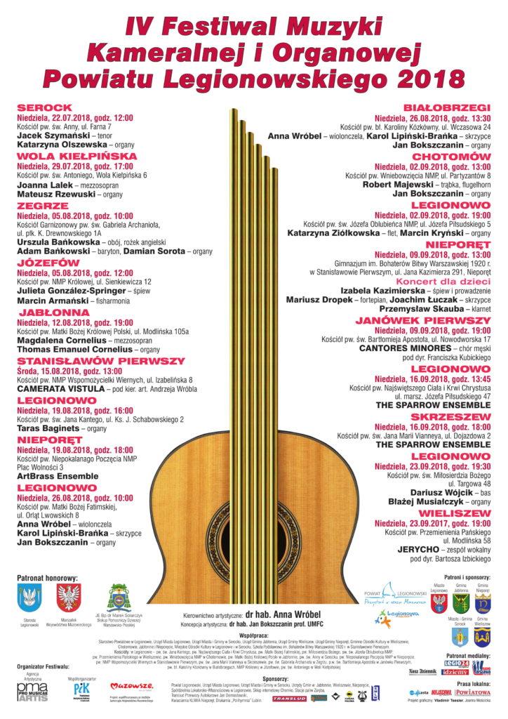 Plakat zawierający informacje o miejscu, terminie i wykonawcach koncertów w ramach IV Festiwalu Muzyki Kameralnej i Organowej Powiatu Legionowskiego