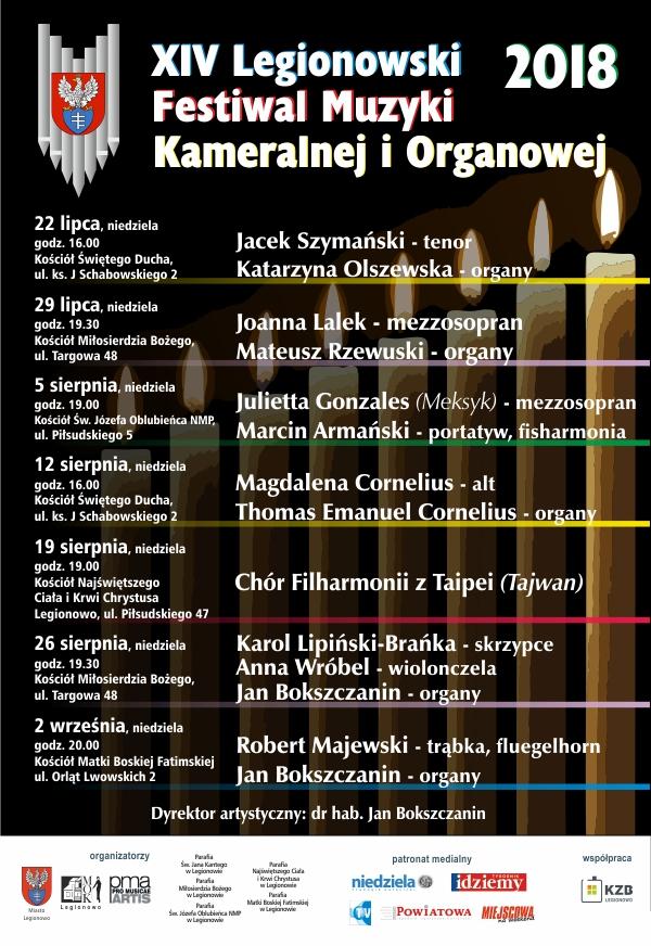 Plakat zawierający terminy, miejsca i nazwiska wykonawców koncertów w ramach 14 Legionowskiego Festiwalu Muzyki Kameralnej i Organowej