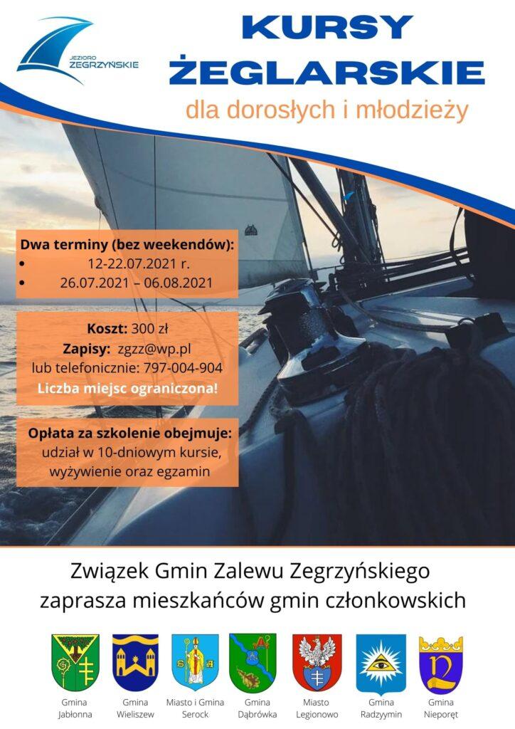 Związek Gmin Zalewu Zegrzyńskiego zaprasza mieszkańców gmin członkowskich na kurs żeglarski.